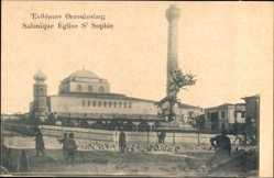 Postcard Saloniki Griechenland, Église St. Sophie, Kirche, Türme