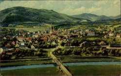 Postcard Haslach im Kinzigtal Ortenaukreis, Blick vom Herrenberg auf den Ort