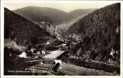 Postcard Triberg im Schwarzwald, Blick vom Hohnen auf Ort und Umgebung