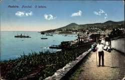 Postcard Funchal Insel Madeira Portugal, O leiteiro, Promenade, Blick zum Hafen