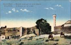 Postcard Saloniki Griechenland, Minaret coupé par un obus bulgare