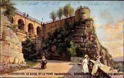 Künstler Ak Beraud, Luxemburg, Bockfelsen, Château, Tuck 737