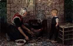 Künstler Ak Bressler, R., Am Herdfeuer, Mutter mit Kind