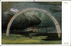 Künstler Ak Schultze, P., Friede, Regenbogen, Gewitterwolken