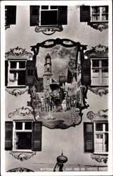 Postcard Mittenwald in Oberbayern, Hotel Post, Gemälde an der Hauswand