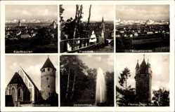 Postcard Kaufbeuren, Jordananlage, Blasiuskirche, Fünfköpfiger Turm