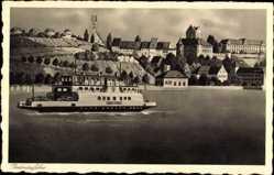 Postcard Meersburg im Bodenseekreis, Bodenseefähre mit Stadtblick