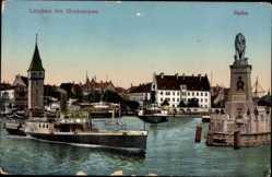 Postcard Lindau im Bodensee Schwaben, Hafeneinfahrt, Salondampfer Stand Konstanz
