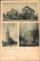 Postcard Holten Oberhausen am Rhein, Langestraße, Castell, Kirche