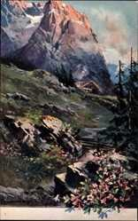 Künstler Ak Guggenberger, Thomas, Gebirge, Chalet, Schweiz