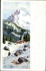 Künstler Ak Splitgerber, Gebirge im Winter, Holzhütte, Kaminrauch
