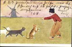 Künstler Ak Niederlande, Hauskatzen, Fisch, Windmühle, BKWI 648 6