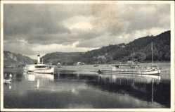 Postcard Struppen in Sachsen, Schwimmende Jugendherberge Sachsen
