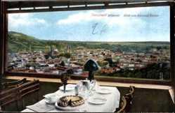 Postcard Neustadt Haardt a.d.Weinstrasse, Tisch im Kurhaus Kohler, Blick auf die Stadt