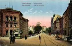 Postcard Saarbrücken, Blick in die Hauptstraße, Bergwerkdirektionsgebäude