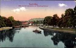 Postcard Saarbrücken, Blick von der Luisenbrücke, Winterberg Denkmal, Boot