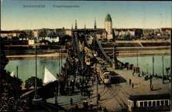 Postcard Mannheim, Blick auf die Friedrichsbrücke, Straßenbahn, Gleise, Turm