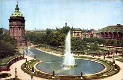 Postcard Mannheim, Blick auf den Friedrichsplatz, Sprinbrunnen, Wasserturm, Wege