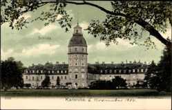 Postcard Karlsruhe, Blick auf das Schloss, Parkanlage, Baum, Turm, Fenster