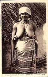 Ansichtskarte / Postkarte Senegal, Afrique Occidentale Francaise, Femme Cérère, Afrikanerin, Barbusig