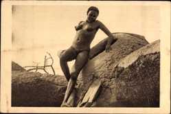 Ansichtskarte / Postkarte Tschad, Afrique Equatoriale Francaise, Femme Moundang de Léré, Barbusige Frau