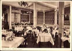 Postcard Wiesbaden, Restaurant Mutter Engel, Innenansicht, Lampe, Langgasse 52