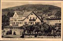 Postcard Tegernsee, Blick auf das Bahnhotel Neue Post, Balkon, Restaurant, Cafe