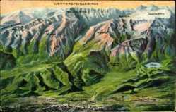 Landkarten Ak Garmisch Partenkirchen in Oberbayern, Wettersteingebirge