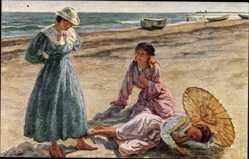 Künstler Ak Wilhjelm, J., In den Sommerferien, Mädchen am Strand
