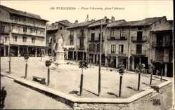 Postcard Puigcerda Katalonien, Plaza Cabrinety, Platz, Denkmal, Gebäude