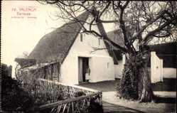 Postcard Barracas Valencia, Bauernhof, Wohnhaus, Anwohnerin