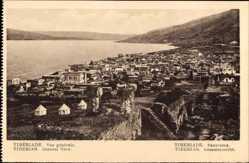 Postcard Tiberias Israel, Vue générale, Panorama der Ortschaft am Wasser