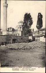 Postcard Saloniki Griechenland, Église Ste. Catherine, Kirche, Turm