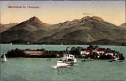 Postcard Herreninsel Chiemsee, Kampenwand, Schiff, Segelboote, Berge