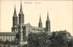 Postcard Bamberg, Blick auf den Dom, Glockentürme, Rosettenfenster, Kreuze