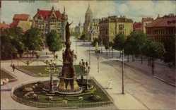 Künstler Ak Dortmund, Blick auf den Hiltropwall, Denkmal, Straßenpartie