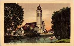 Postcard Kehl am Rhein, Blick übers Wasser zur katholischen Kirche