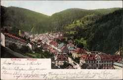 Postcard Triberg, Stadtpanorama, Talansicht, Berge, Waldhang, Häuser