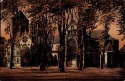 Postcard Münster Westfalen, Blick auf den Dom, Vorplatz, Bäume