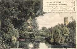 Postcard Münster Westfalen, Kreuzschanze, Weiherpartie, Boot, Turm