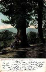 Postcard Badenweiler, Blick auf die Ruine, Südansicht, Passantin, Bäume