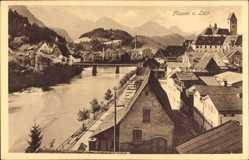 Postcard Füssen am Lech Schwaben, Flusspartie, Brücke, Stadt, Gebirge