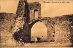 Postcard Tiberiade Israel, La porte de la ville, ruines, Männer mit Pferd