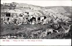 Postcard Siloa Israel, Blick auf das Dorf, Hügellandschaft, Felsen