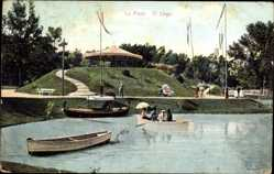 Postcard La Plata Argentinien, El Lago, See in einer Parklandschaft, Pavillon, Boote