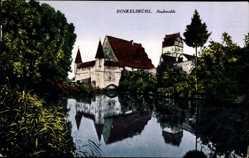 Postcard Dinkelsbühl im Kreis Ansbach Mittelfranken, Stadtmühle am Fluss