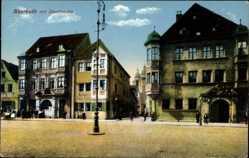Postcard Bayreuth in Oberfranken, Straßenansicht, Wohnhäuser, Stadtkirche