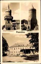 Postcard Prenzlau in der Uckermark, Mittelturm, Blindower Tor, Blick auf den Bahnhof