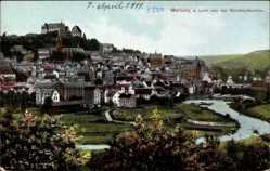 Postcard Marburg an der Lahn, Gesamtansicht von der Weintratseiche