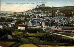 Postcard Marburg an der Lahn, Gesamtansicht mit Bahnhof und Dom